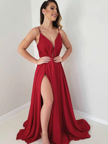 A Line V Neck Burgundy Long Prom Dress, Burgundy Long Formal Graduation Evening Dresses