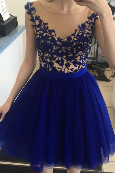 A Line Round Neck Cap Sleeves Short Royal Blue Prom Dress, Short Royal Blue Homecoming Dress, Graduation Dress, Bridesmaid Dress