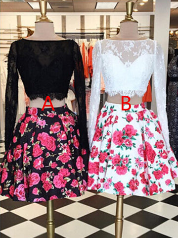 Charming 2 Pieces Long Sleeves Floral Prom Dresses, Homecoming Dresses, Formal Dresses