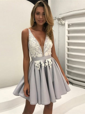 A-Line Deep V-Neck Gray Homecoming Dress with Appliques, A Line V Neck Prom Dress, Formal Dresses