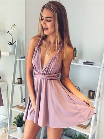 Custom Made A Line V Neck Short Backless Prom Dresses, Short Homecoming Dresses, Backless Formal Dresses