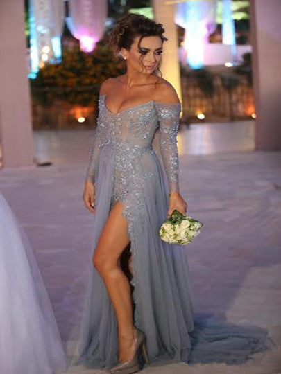 Custom Made A Line Sweetheart Neck Long Sleeves Prom Dresses, Long Formal Dresses
