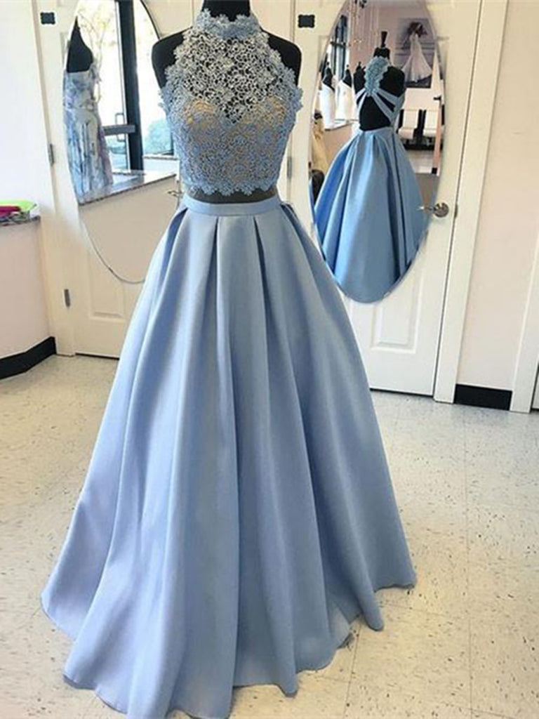 Custom Made A Line High Neck 2 Pieces Blue Lace Prom Dresses, 2 Pieces Lace Formal Dress, Graduation Dress