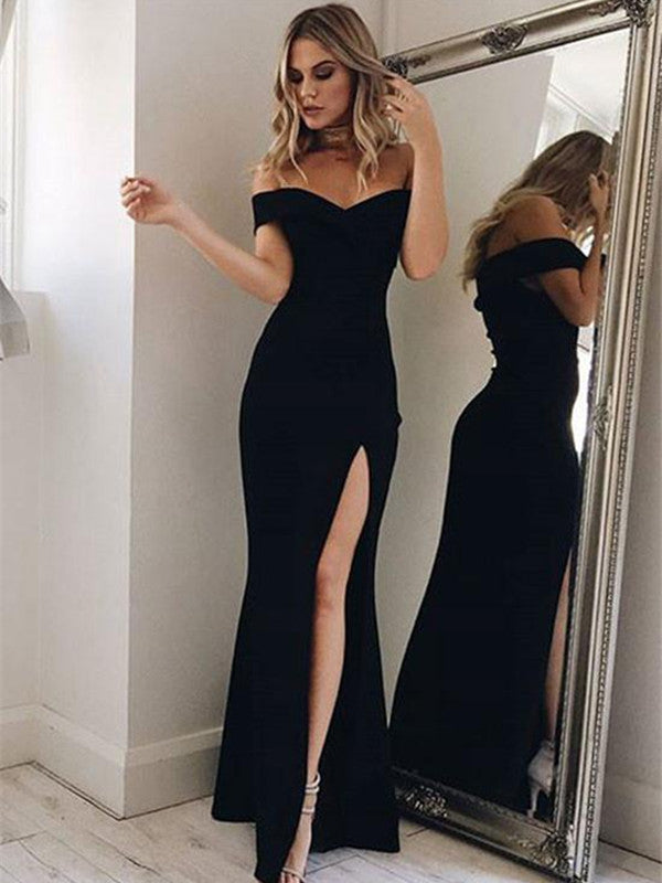 Custom Made Off Shoulder Black Prom Dress, Black Formal Dress, Long Graduation Dress