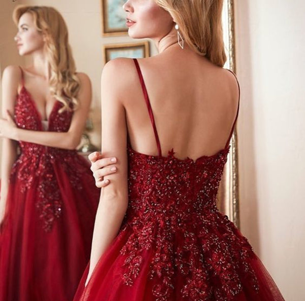 Deep V Neck Burgundy Lace Prom Gown, Burgundy Lace Prom Dresses Evening Formal Dresses