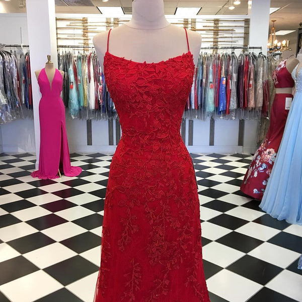 Red Backless Mermaid Lace Prom Dresses, Red Backless Lace Formal Graduation Evening Dresses