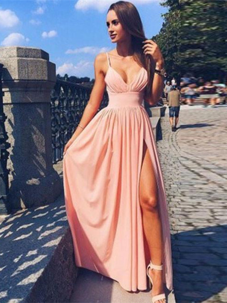Pink A Line V Neck Long Chiffon Prom Dress with Split, Pink V Neck Formal Dress