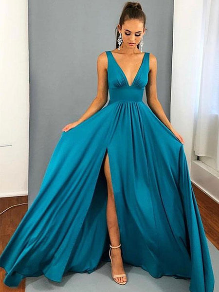 A Line V Neck Blue Prom Dresses, Blue V Neck Graduation Dresses, Formal Dresses
