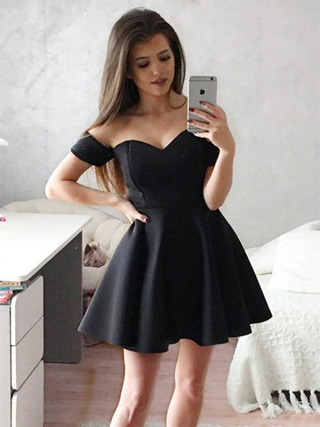 A Line Sweetheart Neck Off Shoulder Short Black Prom Dresses, Short Black Formal Dresses, Homecoming Graduation Dresses