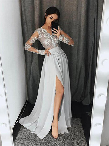 Silver Grey A Line V Neck Long Lace Prom Dress, Silver Gray Lace Formal Dress, Graduation Dress