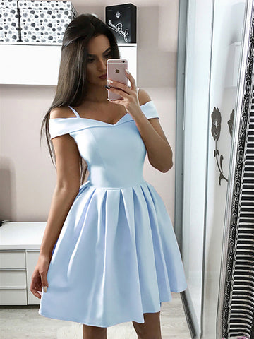 A Line Off Shoulder Short Light Blue/Navy Blue Prom Dresses, Short Blue Graduation Homecoming Dresses
