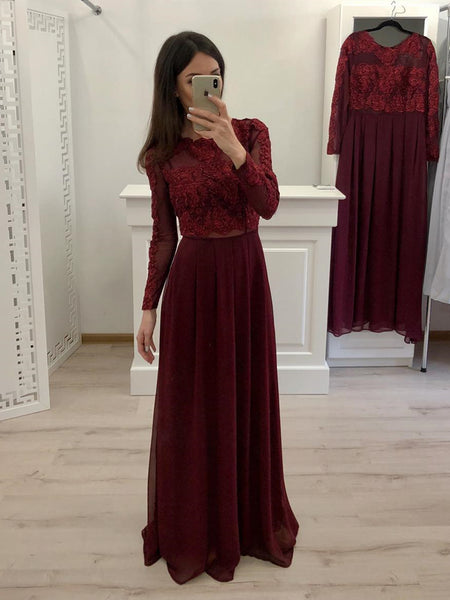 Round Neck Long Sleeves Burgundy Lace Prom Dresses, Long Sleeves Burgundy Lace Formal Evening Dresses
