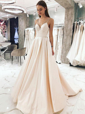 Sweetheart Neck Light Champagne Long Prom Dresses, Light Champagne Formal Graduation Evening Dresses