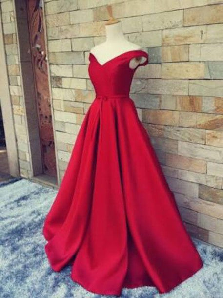 4fd5ee58dd8 ... Custom Made Red Off Shoulder Long Prom Gown