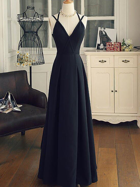 A Line V Neck Black Long Prom Dresses with Corss Back, Black Long Formal Evening Graduation Dresses