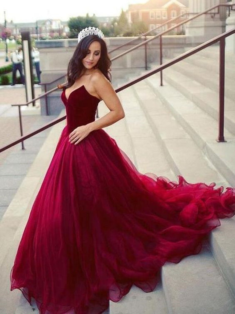 A Line Sweetheart Neck Burgundy Prom Dresses, Burgundy Evening Formal Graduation Dresses