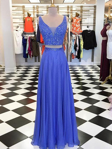A Line 2 Pieces Blue Beaded Prom Dresses, 2 Pieces Blue Formal Graduation Evening Dresses