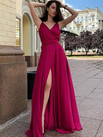 A Line V Neck Burgundy Prom Dresses, V Neck Burgundy/Green Formal Graduation Evening Dresses