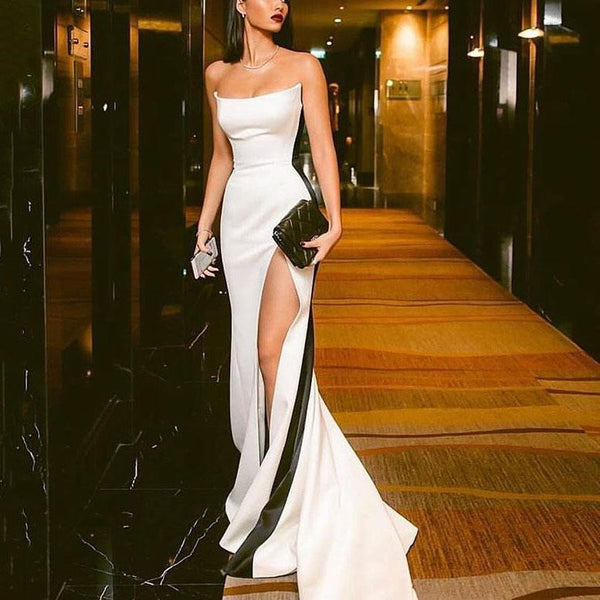 Custom Made White and Black Prom Dresses with High Leg Slit, White and Black Formal Graduation Evening Dresses
