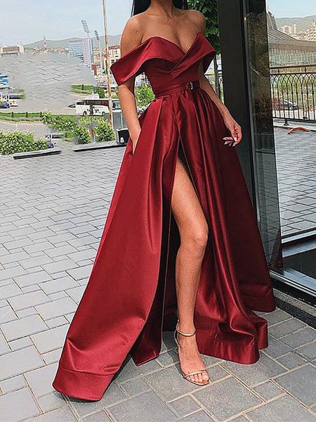 A Line Off Shoulder Champagne/Burgundy/Black Prom Dresses Long, Off Shoulder Long Formal Graduation Evening Dresses