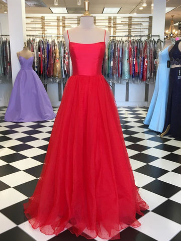 Custom Made A Line Red Long Tulle Prom Dresses, Red Long Tulle Formal Evening Dresses