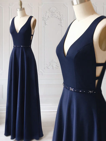 A Line V Neck Dark Navy Blue Prom Dresses with Belt, Dark Navy Blue Formal Graduation Evening Dresses