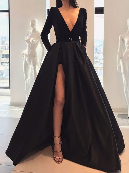 Custom Made A Line Deep V Neck Black Long Sleeves Prom Dresses With Leg Slit, Black V Neck Long Sleeves Formal Evening Dresses