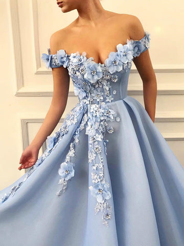 Off Shoulder Blue Lace Prom Dresses Long, Blue Floral Off the Shoulder Formal Graduation Evening Dresses