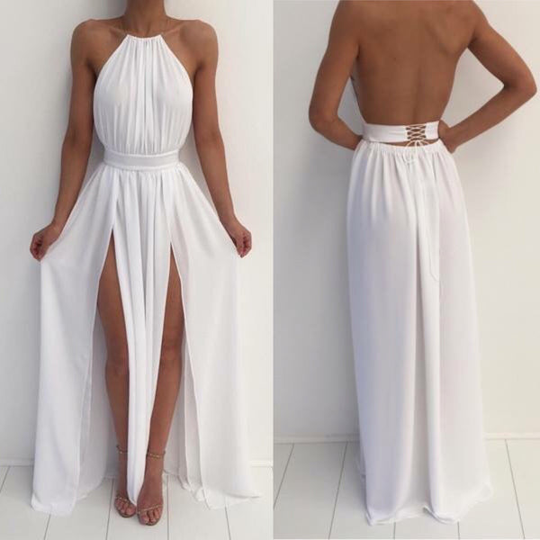 Custom Made A Line High Neck White Backless Prom Dresses, White Backless Formal Dresses, Bridesmaid Dresses