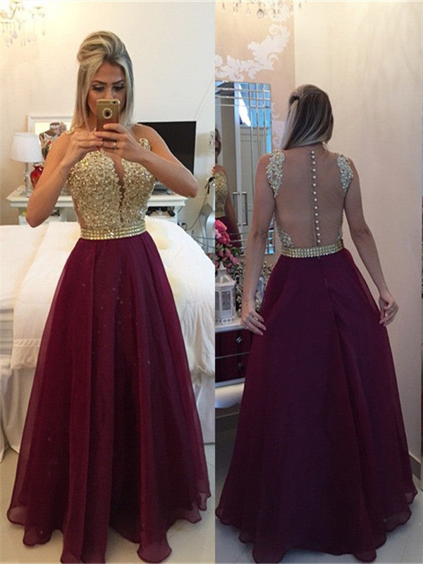 44efe1163d96 Round Neck Sleeveless Prom Dress with Golden Top and Burgundy Skirt, F –  jbydress