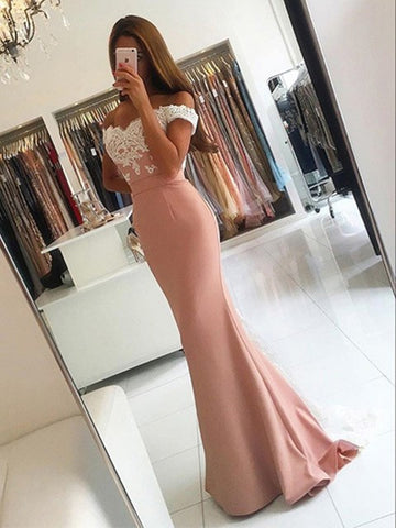 Custom Made Off Shoulder Pink Mermaid Prom Dress with Lace Train, Pink Mermaid Bridesmaid Dress, Formal Dress