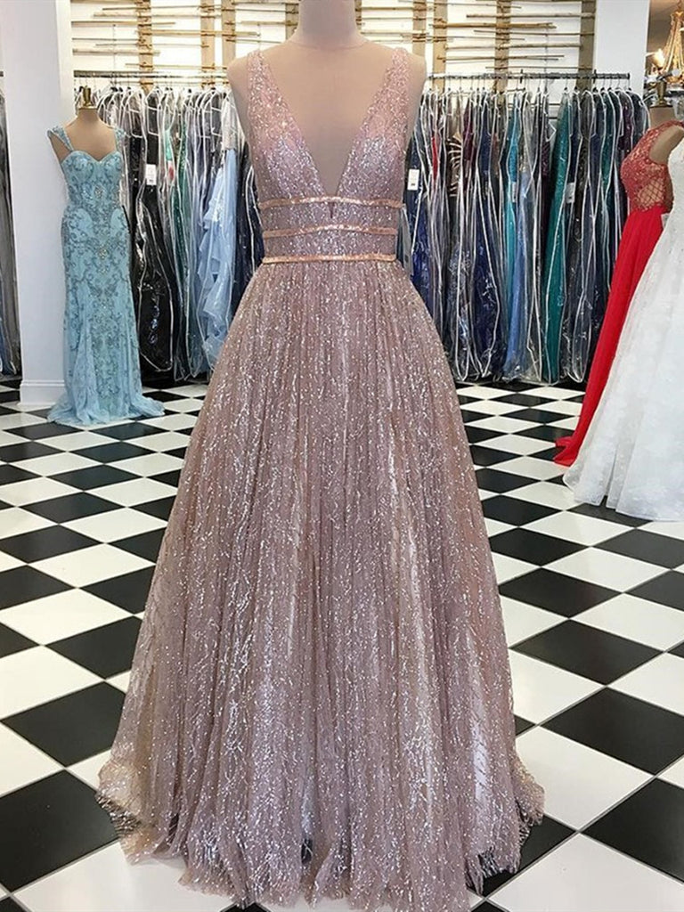 Deep V Neck Floor Length Prom Dress with Sequins, V Neck Formal Dresses, Graduation Dress with Sequins