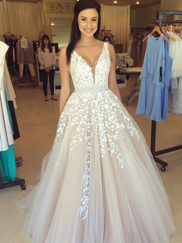 Elegant A Line V Neck Lace Wedding Dresses, Lace Prom Dresses, Formal Dresses
