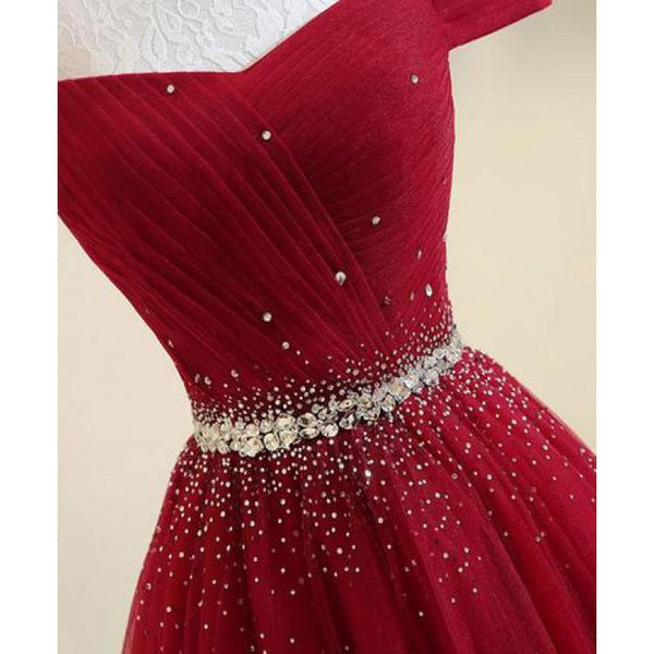 Custom Made Off Shoulder Burgundy/ Navy Blue Prom Dresses, Off Shoulder Formal Dresses, Burgundy/ Navy Blue Evening Dresses
