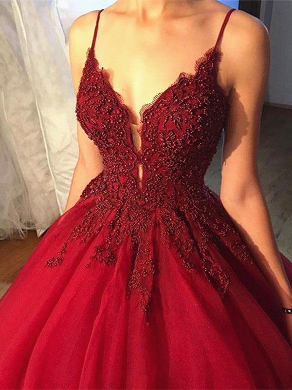 Beaded V Neck Burgundy Prom Dress With Lace Flowers Burgundy Formal
