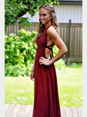 A Line Sleeveless Backless Maroon Prom Dress, Maroon Formal Dress, Maroon Bridesmaid Dress