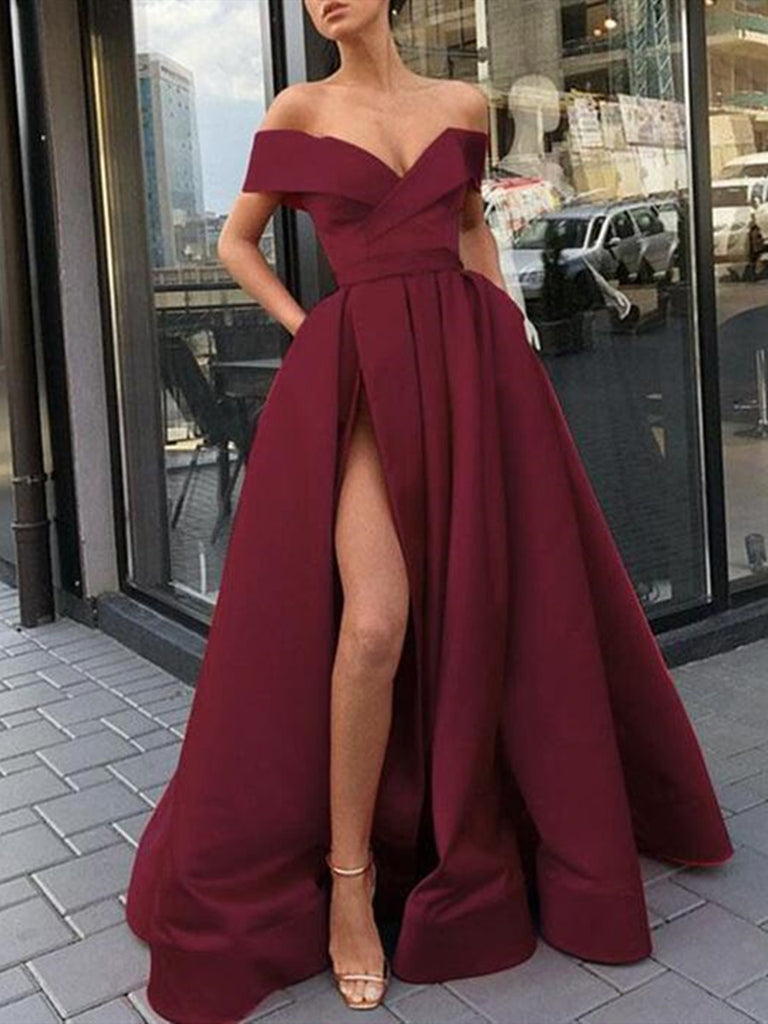 Custom Made High Slit Off Shoulder Burgundy Prom Dress, Burgundy Formal Dresses, Graduation Dresses
