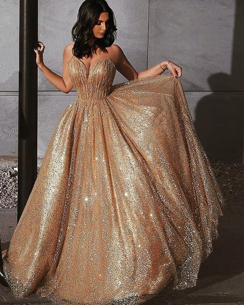 Sweetheart Neck Spaghetti Straps Gold Sequins Prom Dresses, Golden Formal Dresses, Graduation Dresses