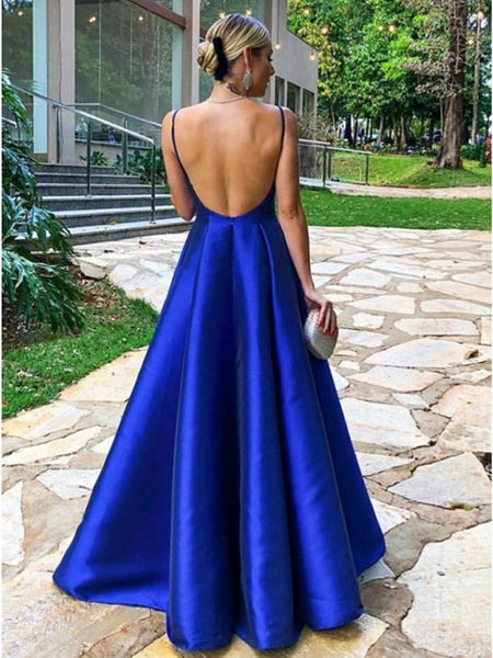 A Line V Neck Royal Blue Prom Dresses, Blue V Neck Formal Graduation Evening Dresses