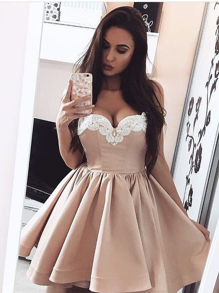 Custom Made Short Champagne Prom Dresses with White Lace, Short Champagne Graduation Evening Dresses