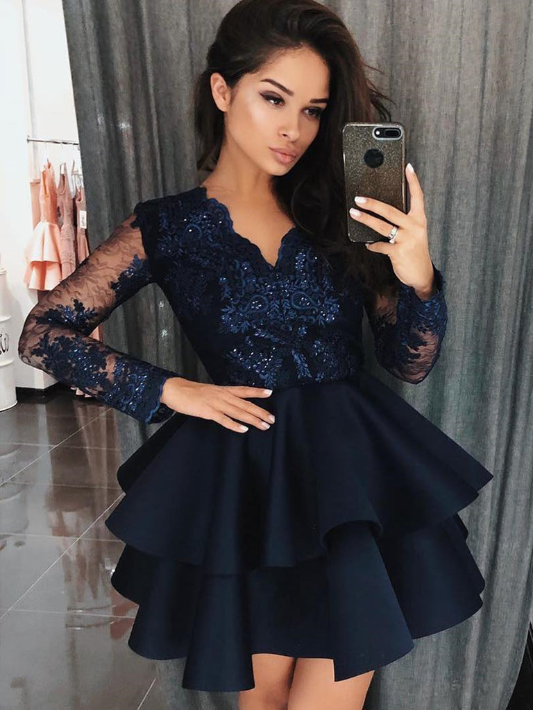 Long Sleeves Short Navy Blue Lace Prom Dresses, Short Navy Blue Lace Graduation Evening Dresses