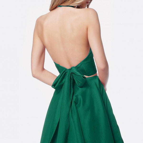 A Line Halter Neck 2 Pieces Green Prom Dresses with Pocket, 2 Pieces Green V Neck Formal Evening Dresses