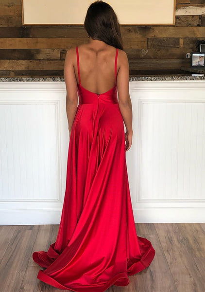 Red V Neck Open Back Long Prom Dresses, Red Backless Formal Graduation Evening Dresses