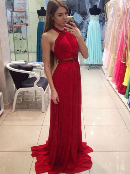 Custom Made Red Chiffon Long Prom Dress with Train, Red Formal Dress