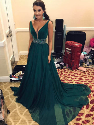 Dark Teal V Neck Prom Dress with Beaded Waistband, Dark Green Sleeveless Formal Dress
