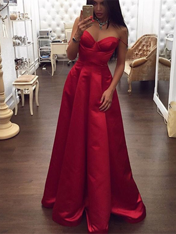 Custom Made Sweetheart Neck Red Long Prom Dresses, Red Long Formal Dresses