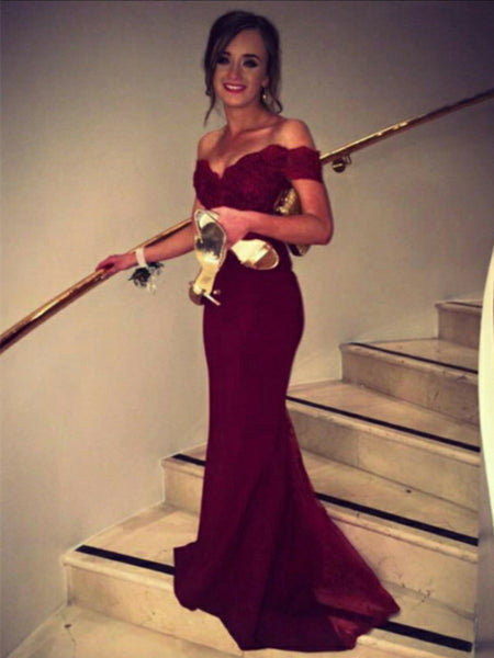 Custom Made Sweetheart Neck Off Shoulder Burgundy Lace Prom Dress, Bridesmaid Dress, Formal Dress