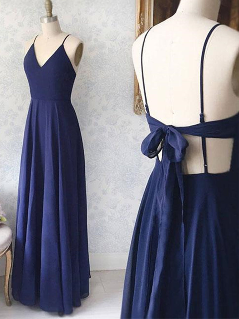 A Line V Neck Navy Blue Backless Prom Dresses, Navy Blue Backless Formal Evening Dresses