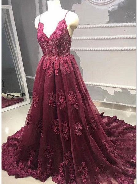 V Neck Burgundy Backless Lace Prom Dresses, Burgundy Backless Lace Evening Dresses