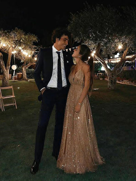 A Line V Neck Backless Champagne Lace Prom Dresses, Champagne Lace Formal Dresses, V Neck Backless Graduation Dresses